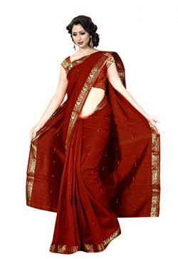 KoC Indian Traditional Ethnic Women wear Art Silk Saree -Maroon