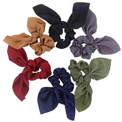 Hair Scarf Silk Scrunchies Ponytail – (6 Pack) SOLID DREAM COLORS Unique Hair Ties Designs ...