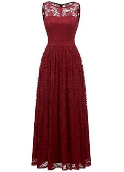 Wedtrend Women's Floral Lace Long Bridesmaid Dress Party GownWTL10007B-DarkRedM