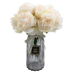 famibay 10 PCS Artificial Peony Bouquets Floral Vantage Fake Peony Silk Flower Leaf with Plastic ...