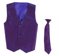 Vest and Clip On Baby Boy Necktie set – PURPLE – 2T/3T