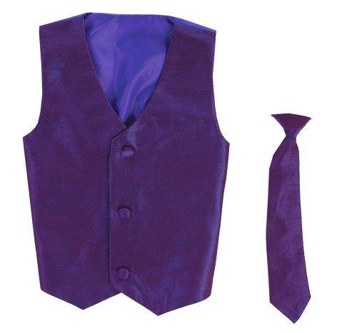 Vest and Clip On Baby Boy Necktie set – PURPLE – 2T/3T