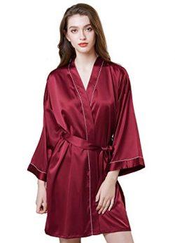 Womens Robe Satin Kimono Silk Robe Pure Color Short Silky Sleepwear Nightgown Pajama Wine Red