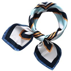 "RIIQIICHY Women's 27.19"" Silk Satin Square Plaid Print Hair Head Scarf Neckerchief"