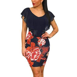 Copercn Women's Ladies Flower Pattern Silk Patchwork Drape Chiffon Sheer Cover Up V-Neck S ...