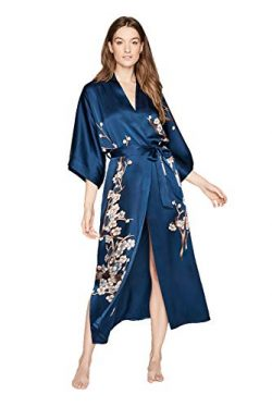 Old Shanghai Women's Silk Kimono Long Robe – Handpainted (Cherry Blossom Ink)