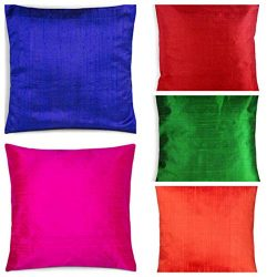 rajwada-fashion Indian Ethnic Decorative Dupin Silk Pillow Cushion Cover Set of 5 Pcs Size 16 X  ...