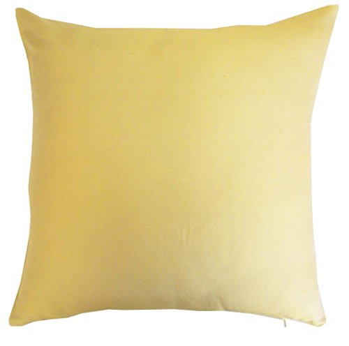 Silk Throw Pillow Cover Straw Yellow 15×15 inch Pack of 2 100% Pure Silk Dupioni Cushion Cover