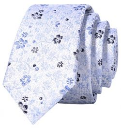 Mens Silk Skinny Neat Tie in Reflection Floral Pattern 100% Chinese Silk Tie,  Reflection White