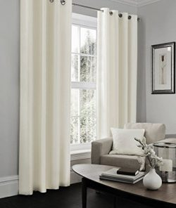 IHF Faux Silk Dupioni Solid Textured Lined Grommet Eyelet Panels Curtains Drapes (Off White, 52& ...