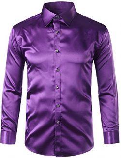 ZEROYAA Mens Regular Fit Long Sleeve Shiny Satin Silk Like Dance Prom Dress Shirt Tops Z6 Purple ...