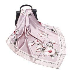 Women's Silk Scarf Belt Pattern Large Square Satin Headscarf Headdress 35″ (36#)