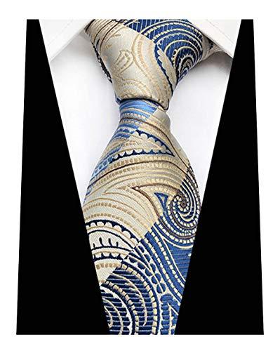 MENDENG Classic Blue Beige Paisley Jacquard Woven Silk Men's Ties Party Neckties