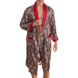 MAGE MALE Men's Summer Luxurious Kimono Soft Satin Robe with Shorts Nightgown Long-Sleeve  ...