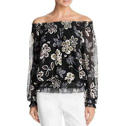 Tory Burch Womens Silk Printed Peasant Top