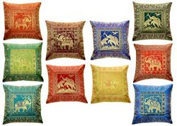 MITTAL-ENTERPRISES 10 Pc Lot Square Silk Home Decor Cushion Cover, Indian Silk Brocade Pillow Co ...