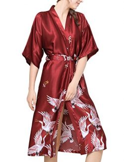 Aensso Women's Kimono Long Robe Silky Lightweight for Bridal Wedding Party