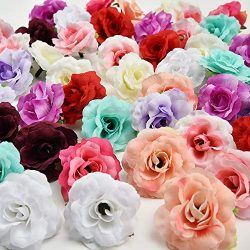 Handmade Mini Artificial Silk Rose Flowers Heads in Bulk Wholesale DIY Scrapbooking Flower Kiss  ...