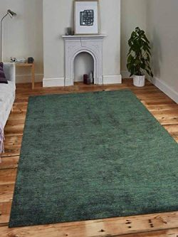 Rugsotic Carpets Hand Knotted gabbeh Silk 3'x5′ Area Rug Solid Dark Green LS0111