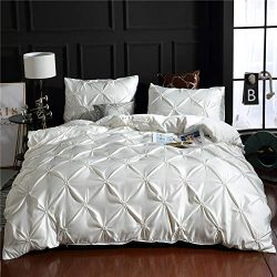 Pinch Pleated Bedding White Silk Like Satin Duvet Cover Set Pintuck Ruffle Design White Silky Mi ...