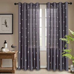 jinchan Flur De Lis Embroidered Curtains for Bedroom Faux Silk Semi Sheers Embroidery Window Cur ...
