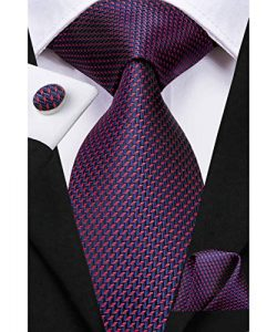 Dubulle Navy and Burgundy Ties for Men with Pocket Square Cufflinks Silk Plaid Necktie for Wedding