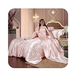 HOT! 100% Pure Satin Silk Bedding Set Home Textile King Size Bed Set Bed Clothes Duvet Cover Fla ...