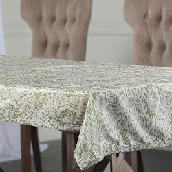 Half Price Drapes PTPCH-170807-TC-108 Tabriz Designer Faux Silk Taffeta Table Cloth, Green, 54 x 108