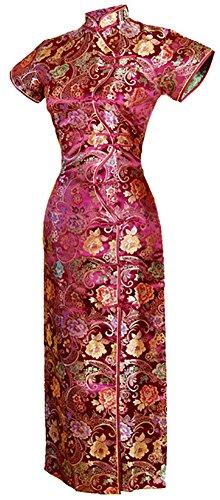 7Fairy Women's Vtg Burgundy Ten Buttons Long Chinese Dress Cheongsam Size 8 US