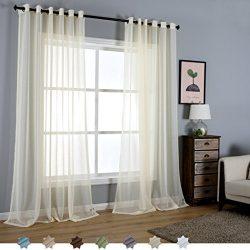 Royhom 50″ W x 96″ L (2 Panels) Morden Sheer Window Curtain/Ice Silk Ivory Sheer/Gro ...