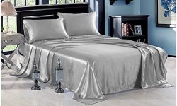 "Meena Shree Textile 100% Pure Silk Satin Sheet Set 4pcs, Silk Fitted Sheet 15"" Deep Pocket ..."