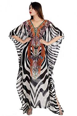 Drape gorgeous silk kaftan with Zebra Print and laces to look distinctive 179