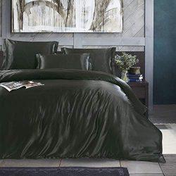 Black Dark Luxury Silk Bedding Set. Include Silk Duvet Cover, Silk Pillow Sham and Silk Fitted S ...