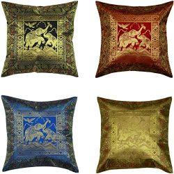 ANJANIYA Set of 4 16×16 inch (40×40 cm) Elephant Banarsi Silk Indian Ethnic Bohemian D ...