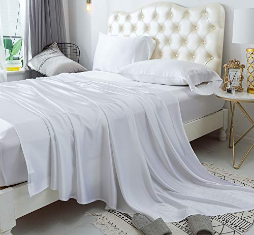 ZIMASILK 4 Pcs 100% Mulberry Silk Bed Sheet Set,All Side 19 Momme Silk (Queen, White)