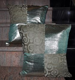 Lalhaveli Home Decorative Patchwork Jacquard Silk Pillow Cushion Cover 16 X 16 Inches Set of 2 Pcs