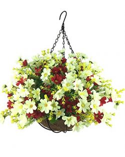 Lopkey Artificial Daisy Flowers Outdoor Indoor Patio Lawn Garden Hanging Basket with Chain Flowe ...