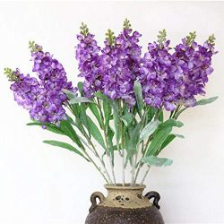 famibay Artificial Silk Hyacinth Flowers Pack of 6 Fake Hyacinth Flowers and Leaves with Plastic ...