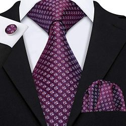 Barry.Wang Solid Burgundy Ties for Men Set Woven Silk Designer