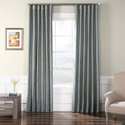 HPD Half Price Drapes Faux Raw Silk Curtain, Heron Blue (Blue)