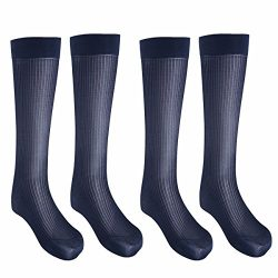 FEESHOW 2 Pairs Men's Summer Thin Silk Socks Over-the-Calf Business Dress Crew Socks Navy  ...