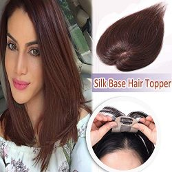 12″ Human Hair Clip in Toppers for Women Silk Base Thin Top Hairpieces Natural Toupee for  ...