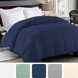 Cosy House Collection Premium Down Alternative Comforter – Navy Blue – All Season Hy ...