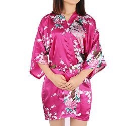 uxcell Women's Printing Peacock Satin Robe, Kimono Robe Medium Sleeve Silk Bridal Dressing ...