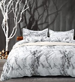 NANKO Queen Bedding Duvet Cover Set White Marble, 3 Piece – 1000 – TC Luxury Microfi ...