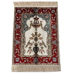 Yilong 1.5'x2′ Red Persian Area Rugs Silk Hand Knotted Oriental Prayer Area Rug