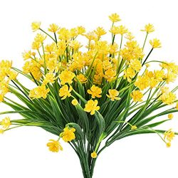 HOGADO Artificial Fake Flowers, 4pcs Faux Yellow Daffodils Greenery Shrubs Plants Plastic Bushes ...