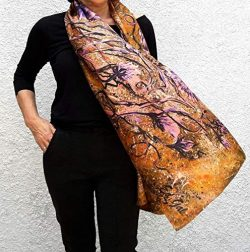 Big Silk Scarf Hand Painted & Printed Wedding Shawl Large Oversize Gold Lilac Floral Summer  ...
