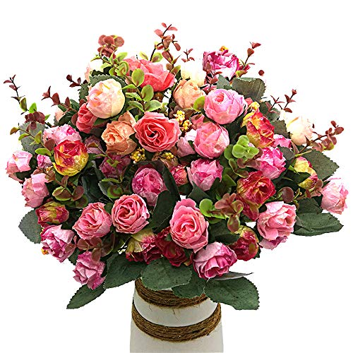Grunyia Artificial Fake Flowers Silk Tiny Rose Flowers Wedding Bridal Bouquet Home Decoration,(P ...