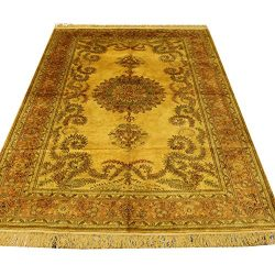 YILONG CARPET 5'x8′ Handwoven Antique Persian Rug Gold Silk Carpet for Living Room B ...